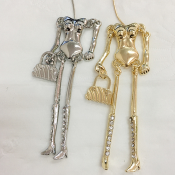 50 pcs/lot New Doll Necklace Alloy Naked Bodies with Crystal Legs White Gold Colors DIY Accessories Handmade Statements