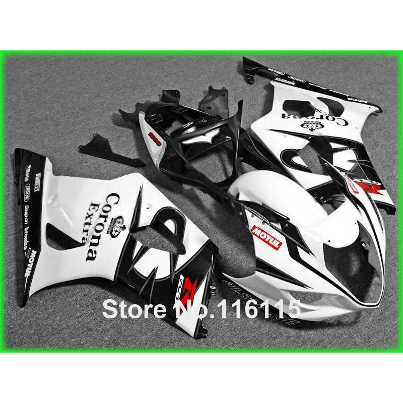 Injection molding fairing kit fit for SUZUKI GSXR1000 K3 K4 03 04 white black Corona ABS fairings set GSXR 1000 2003 2004 HX88 100% fit for suzuki injection molding gsxr1000 fairing kit k3 k4 2003 2004 brown black fairings set gsxr 1000 03 04 ap34