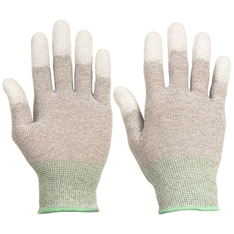 Anti-static Gloves For Computer Reusable Washable Nylon & PU Palm Coated Electronic Industrial ESD Finger Gloves With PU Coating