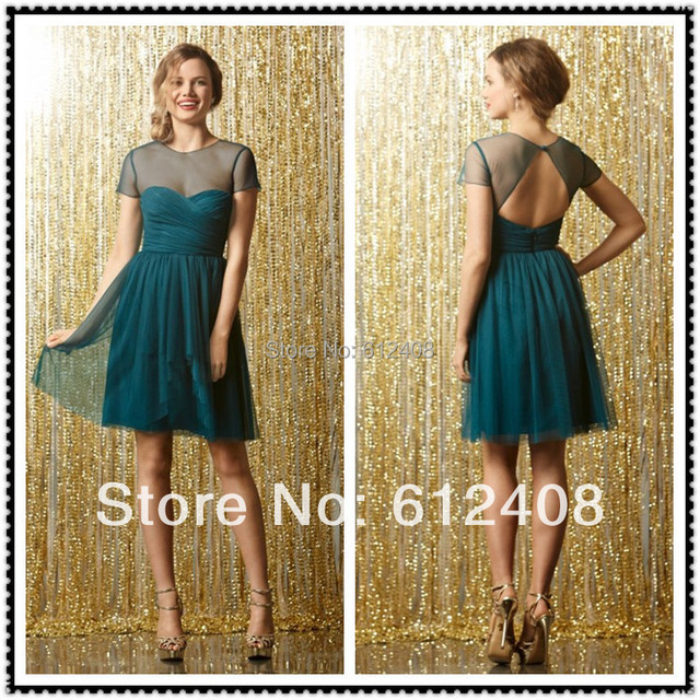 2fe9192bb31 LA50130 Traditional short sleeve round neck A-line knee length pleated  tulle dark green bridesmaid dresses