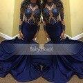 Satén Del Estiramiento atractivo Azul Real Vestidos de Baile 2017 de Manga Larga del O-cuello cuello Opacidad Sheer Cordón de La Muchacha Larga Sirena Vestido de Fiesta Africana