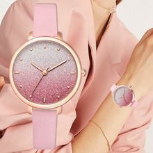 цены Women Gradient Dial Wristwatches Casual Fashion Luxury Pink Leather Strap Quartz Watches Clock Relogio Feminino Drop Shipping
