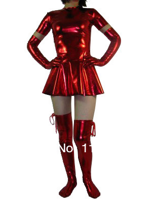 Red Pleated Shiny Metallic Woman Zentai Dress
