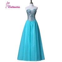 Robe de Soiree azul dulce Encaje rebordear largo vestido de noche nupcial cucharada sin mangas banquete transparente vestido de baile sexy