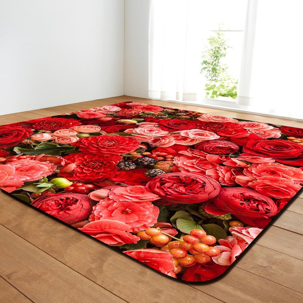 Creative fleur imprimer moderne tapis chambre salon thé Table tapis cuisine salle de bains antidérapant tapis couverture décor à la maison