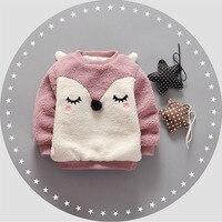 Leuke Hoodies Fleece Warme Herfst Winter Baby Unisex Sweatshirt Jongen Meisje Lange Mouw Gedrukt Warm Tops Voor Kids Met Oren