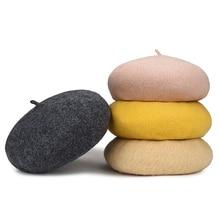 Lady Autumn Winter Wool Beret Hats For Women Plain Color Vintage Berets Winter Beanie Hat Caps Female Warm Bonnet