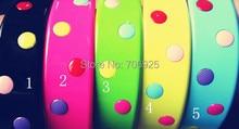 12pcs/lot Free shipping Wholesale Mixed color dot plastic hair bands  28mm цена