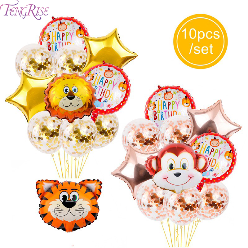 FENGRISE Jungle Animal Tiger Lion Monkey Air Helium Balloon Birthday Party Decorations Kinds Safari Happy