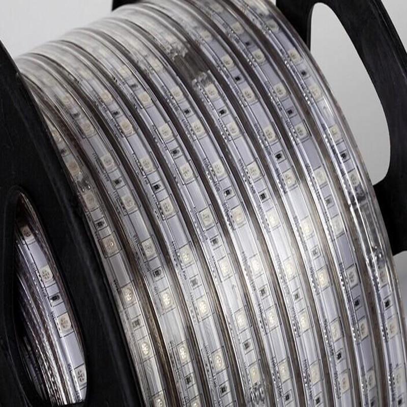 Распродажа 10 м 110 В/220 В Высокое напряжение SMD 5050 RGB Светодиодная лента Водонепроницаемая + ИК пульт дистанционного управления + источник питания - 4