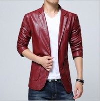 2017 Suit Style Mens Vintage Slim Fit Leather Blazer Jacket Blouson Cuir Homme Men Soft PU Leather Coat Blazer Male 4XL 5XL 6XL