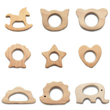 Baby Girl Lovely Cartoon Wood Teether 1Pc Pure Natural Animal Shaped Baby Teething Nursing Beech Teether DIY Pendant Toy(China)
