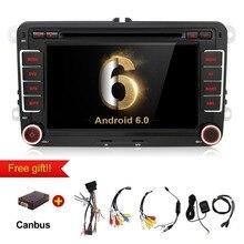 Quad Core Android 6.0 dvd de voiture lecteur gps 2Din 7 Pouce Pour Volkswagen VW Skoda POLO PASSAT B6 CC TIGUAN GOLF 5 Fabia Wifi Cam 1080