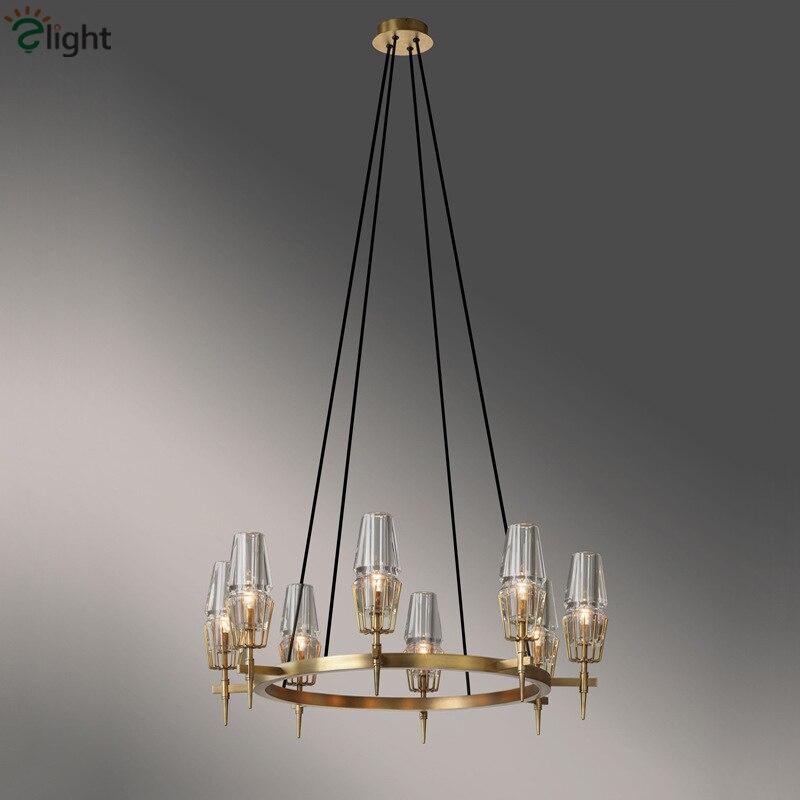 American Modern Copper Living Room Led Chandelier RH Pendant Chandelier Lighting Lustre Luminarias Light Fixtures