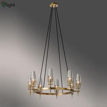 American RH Loft Glass Brush Metal Gold Led Chandelier Hanging Led Pendant Chandelier Lighting Living Room Indoor Lighting Lamp