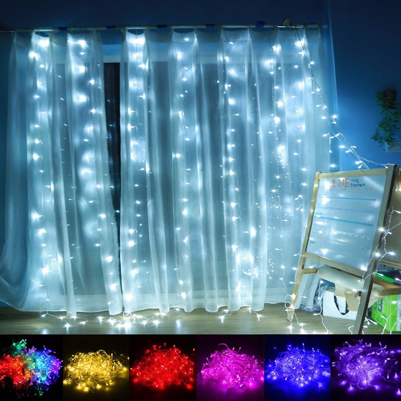 3M*2M 224 LED Fairy Icicle String Lights Xmas Outdoor Lighting Home Best Decor For Wedding/Party/Curtain/Garden/Festival/Holiday sexy scoop neck long sleeve flower pattern see through dress for women