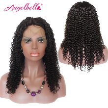 """Angelbella Kinky Curly Lace Wigs 150% Density Natural Color Kinky Curly Wigs Glueless Lace Front Wigs 14""""-24"""" In Stock"""