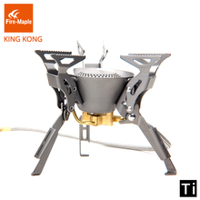 лучшая цена Fire Maple KING KONG Titanium Outdoor Camping Hiking Folding Burners Split Gas Stove Equipment 199g 2450W FMS-100T