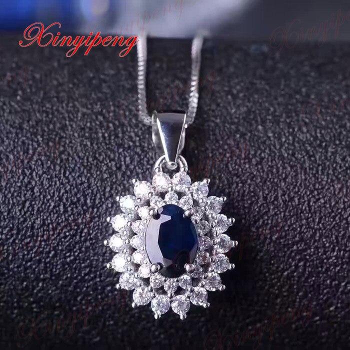 925 zilver ingelegd 2 karaat natuurlijke saffier sieraden set MS donkerblauw Luxe en royale - 5