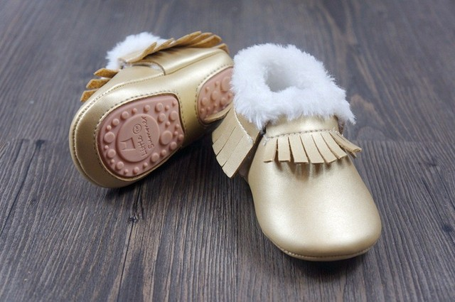 New winter pure hard sole rubber  baby moccasins snow boots shoes children baby  fringe fur boots princess dress prewalker