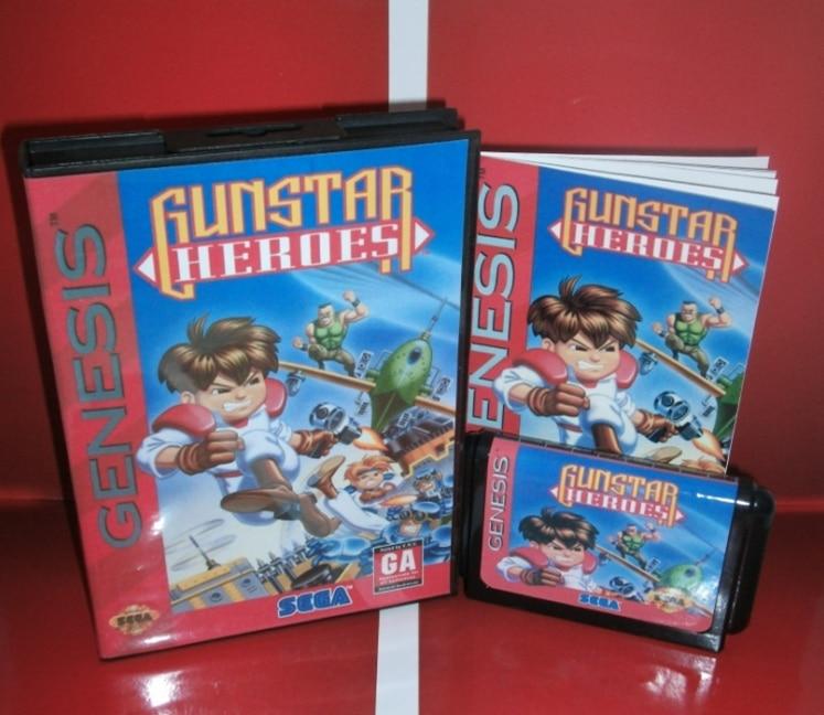 Juegos de Sega tarjeta de Gunstar Heroes con caja y manual para Sega MegaDrive C