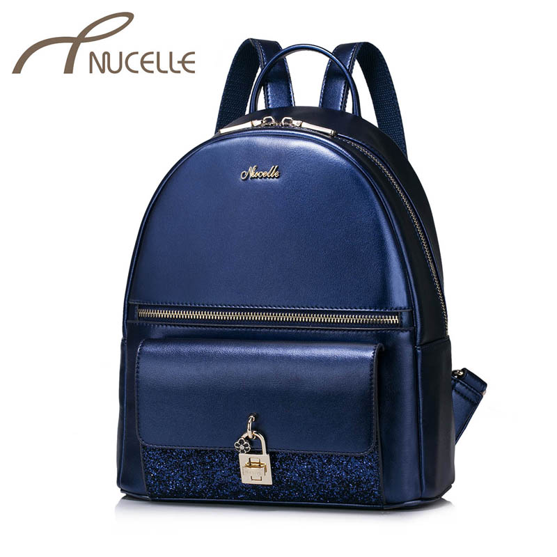 ФОТО NUCELLE Women PU Leather Backpack Fashion Brief Female Elegant Daily Shoulder Bags Ladies Lock Vintage Travel Rucksack NZ4969