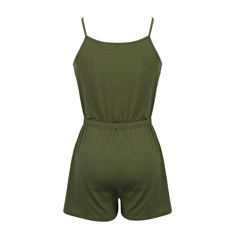 Romacci Sexy Women Solid Sleeveless Playsuit V Neck Drawstring Waist Spaghetti Strap 5XL Plus Size Rompers Slim Jumpsuit Short 1