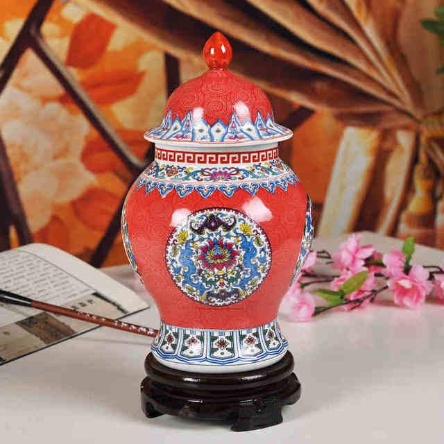 Powder Enamel Jingdezhen Chinese Ginger Jar Antique Ceramic Blue And