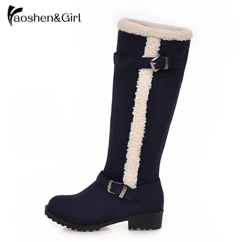 Haoshen&Girl Women Knee Boots Fur Long Boots Woman Flat Boots Shoes Winter Warm Mujer Boot Fashion Sexy Shoes Y29 30