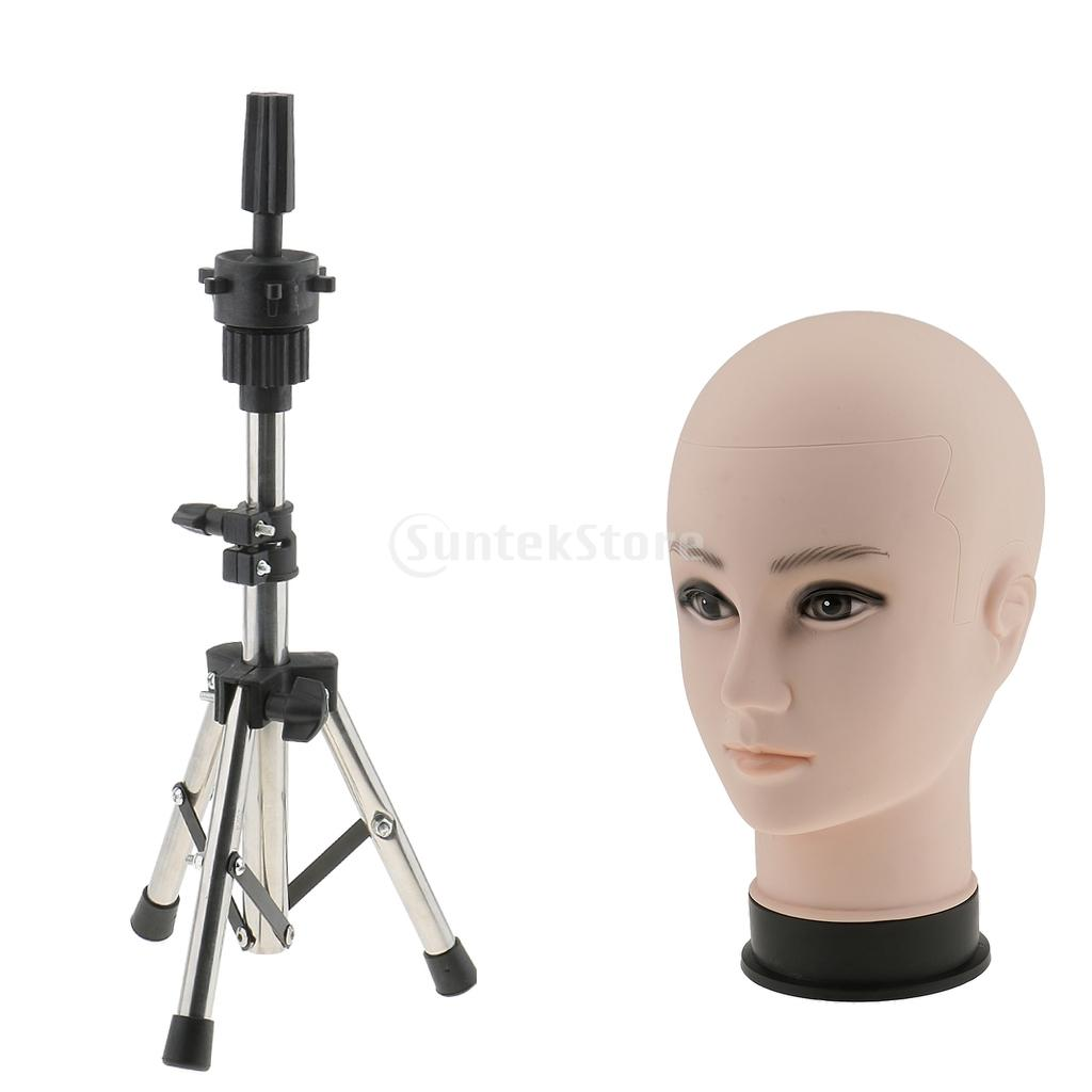 Professional Bald Manikin Cosmetology Training Head For Wigs Making And Display Doll Mannequin Model With A Tripod Clamp