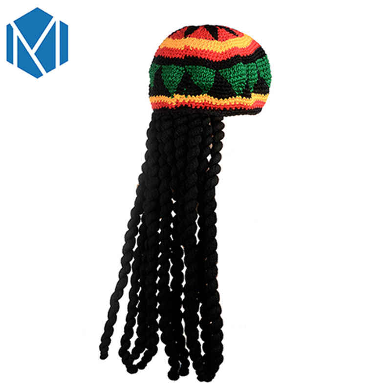 New Fashion Halloween Easter Men Handmade Jamaican Hat Knitted Festival Hat Multicolor Tassel Hair Accessories Headwear