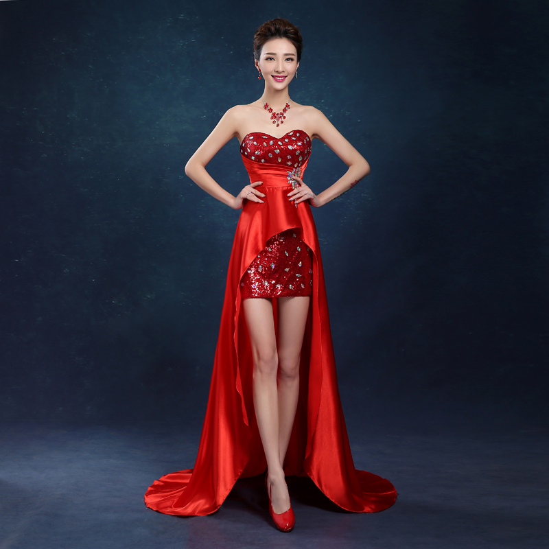 2017 new arrival stock maternity plus size bridal gown evening dress front  short back long black red gold blue gala party LF1620-in Evening Dresses  from ... 3a8dddbfa63a