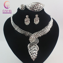 Trend African Costume Jewellery Units 925 Silver Crystal Wedding ceremony Girls Bridal Equipment nigerian Necklace Set