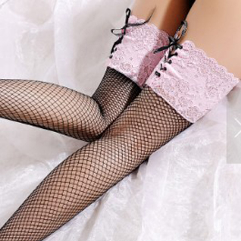 Women's Sexy Fishnet Stocking Sheer Lace Top Thigh High Stockings Hosiery Nets Stay Up For Women Female Stockings Pink White