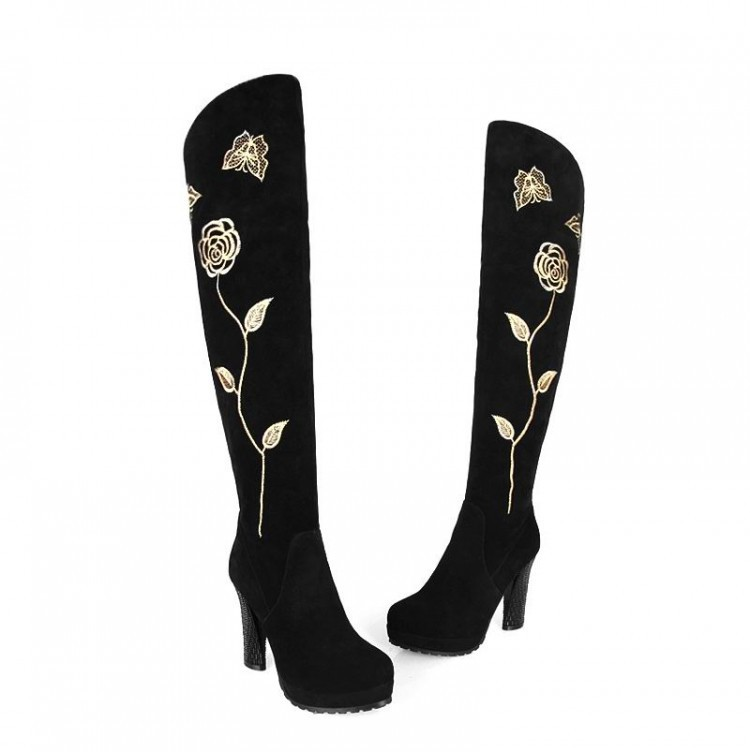 Women Autumn Winter Thick High Heel Genuine Leather Embroidery Bowknot Rose Round Toe Fashion Over The Knee Boots 34-40 SXQ0812 dijigirls new autumn winter women over the knee boots shoes woman fashion genuine leather patchwork long high boots 34 43
