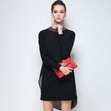 2017 Autumn Winter Plus Size font b Women b font Dresses Bead Long Sleeves Elegant Casual