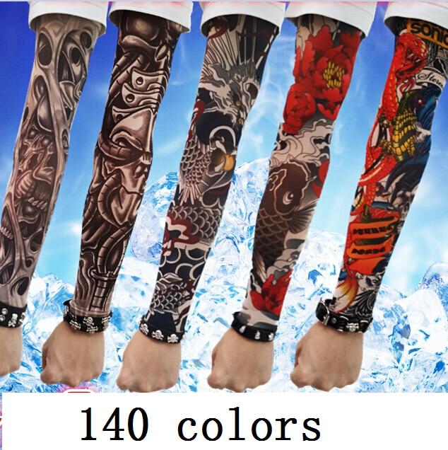 Модная мужская татуировки рукава Перчатки женские уличные лето солнцезащитный крем виско ...