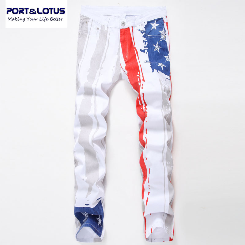 ФОТО PORT&LOTUS Jeans Mens Printed Jean Famous Brand Elastic Masculina  Ripped For Male Casual TX005