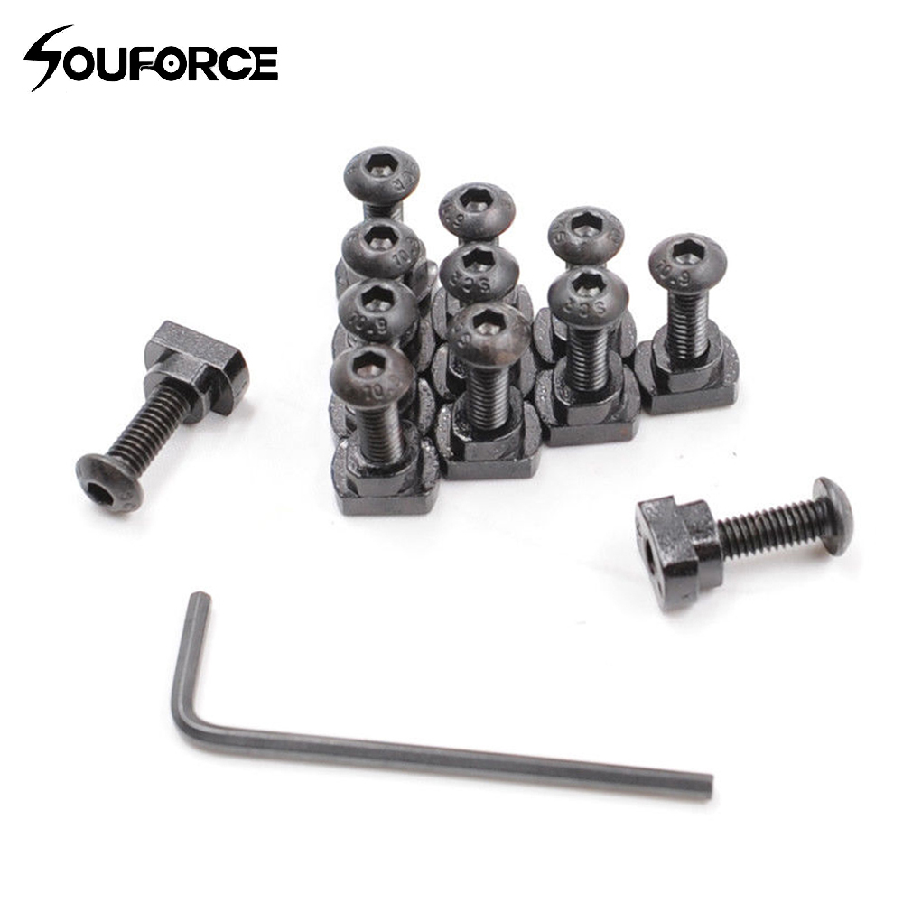 12 Pcs Metal Screw And Nut Replacement Set Fit M-LOK Rail Sections Gun Accessory For Hunting