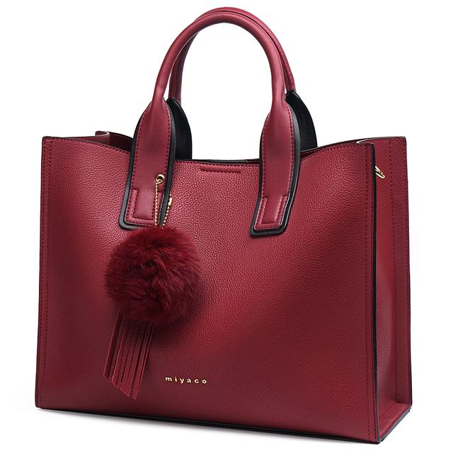MIYACO Handbag for Women Leather Tote Bags Designer Handbags Elegant Crossbody Bags Ladies Hand Bags with Tassel&Furry ball