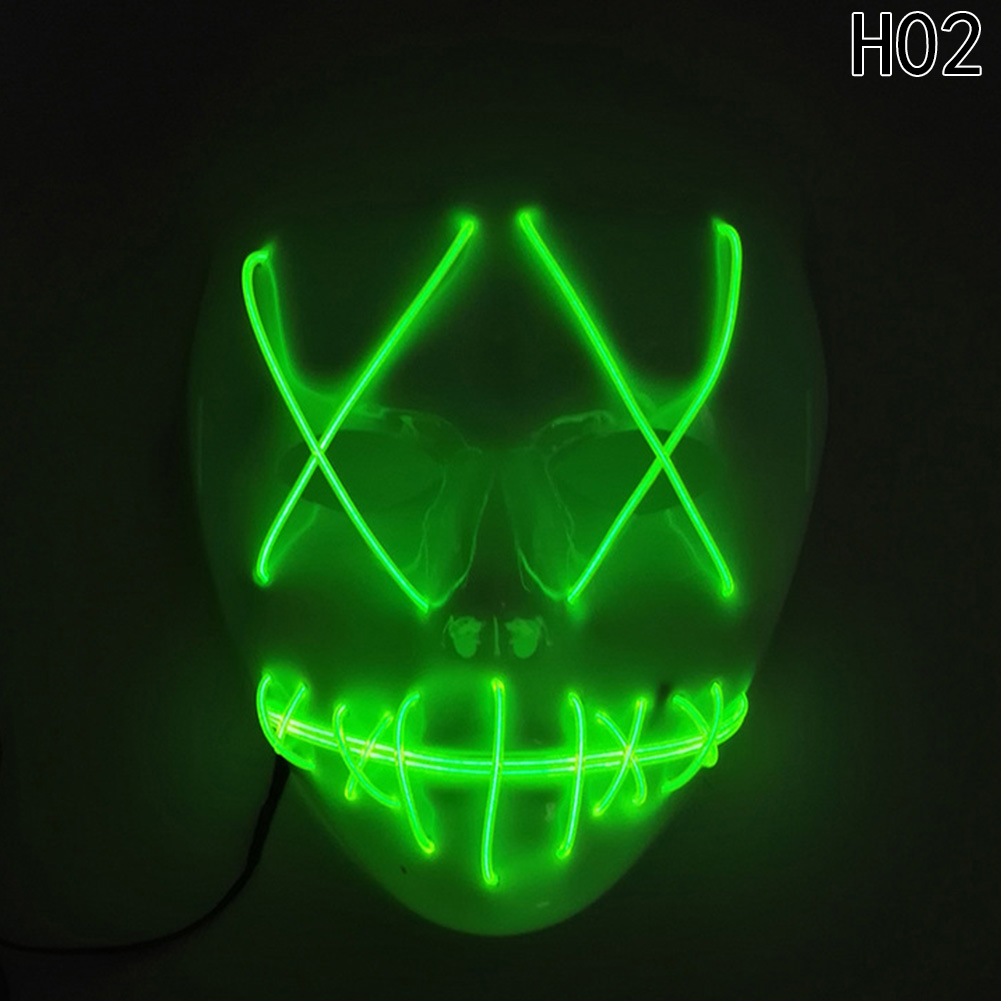 HTB1T3AZbk.HL1JjSZFlq6yiRFXay - 1 Piece Halloween ghost Slit mouth light up glowing LED Mask Costume PTC 259