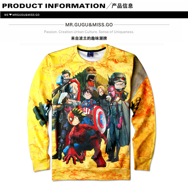 Unisex Anime One-Piece Character 3D Printing Long-Sleeve Roud-Neck Hoodies Women Men Casual Lover Couple Top