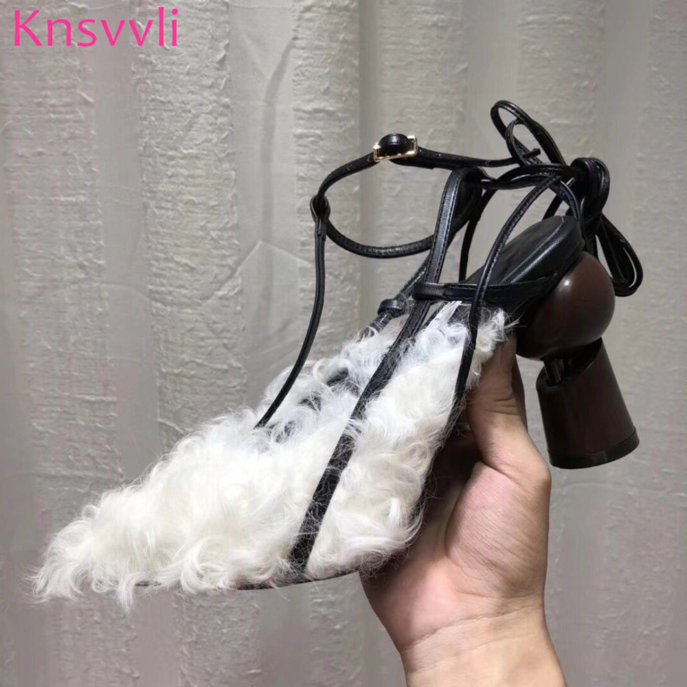 цена на New Style Cross Tied Runway Shoes High Fashion Shoes Women Strange Style Heel Pointed Mixed Color Cowhide Shoes Women Luxury