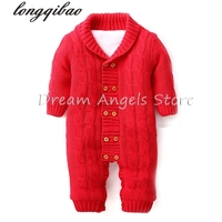 Baby Rompers Winter Thick Climbing Clothes Newborn Boys Girls Warm Romper Knitted Sweater Solid doll collar coat