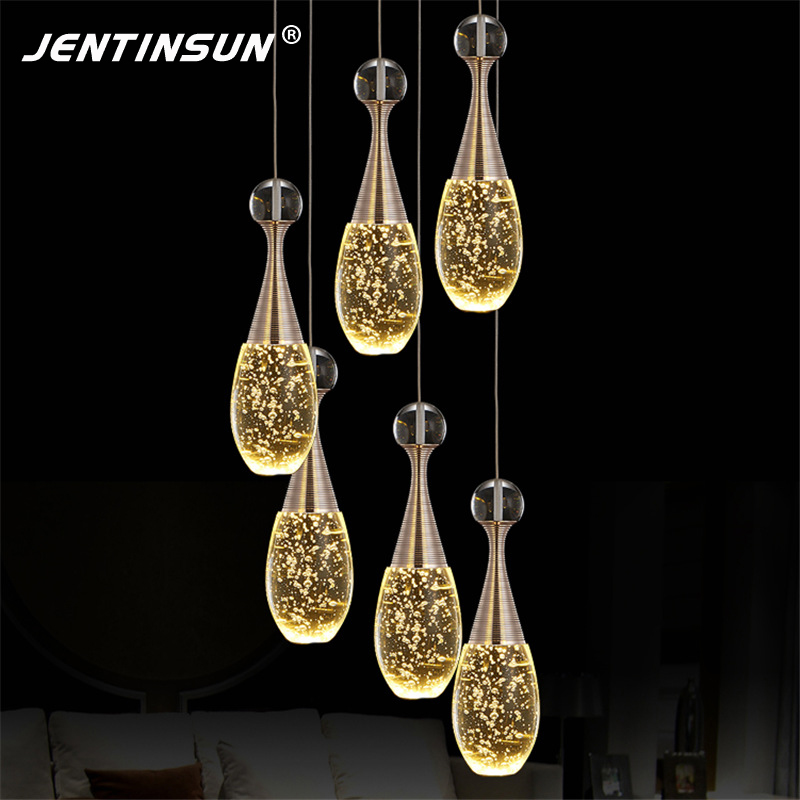 Modern Simple LED Perfume Bottle Crystal Pendant Light Fashion Clear Bubble Hanging Lamp for Bar Dining Room Lights Restaurant modern pendant lights for restaurant glass bottle pendant lamp 1 3 5head bar dining room fashion plants hanging lamp
