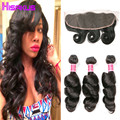 Cambodian Virgin Hair Loose Wave with Frontal Lace Frontal Closure with Bundles 3 Bundles with Frontal Closure Remy Hair Bundles