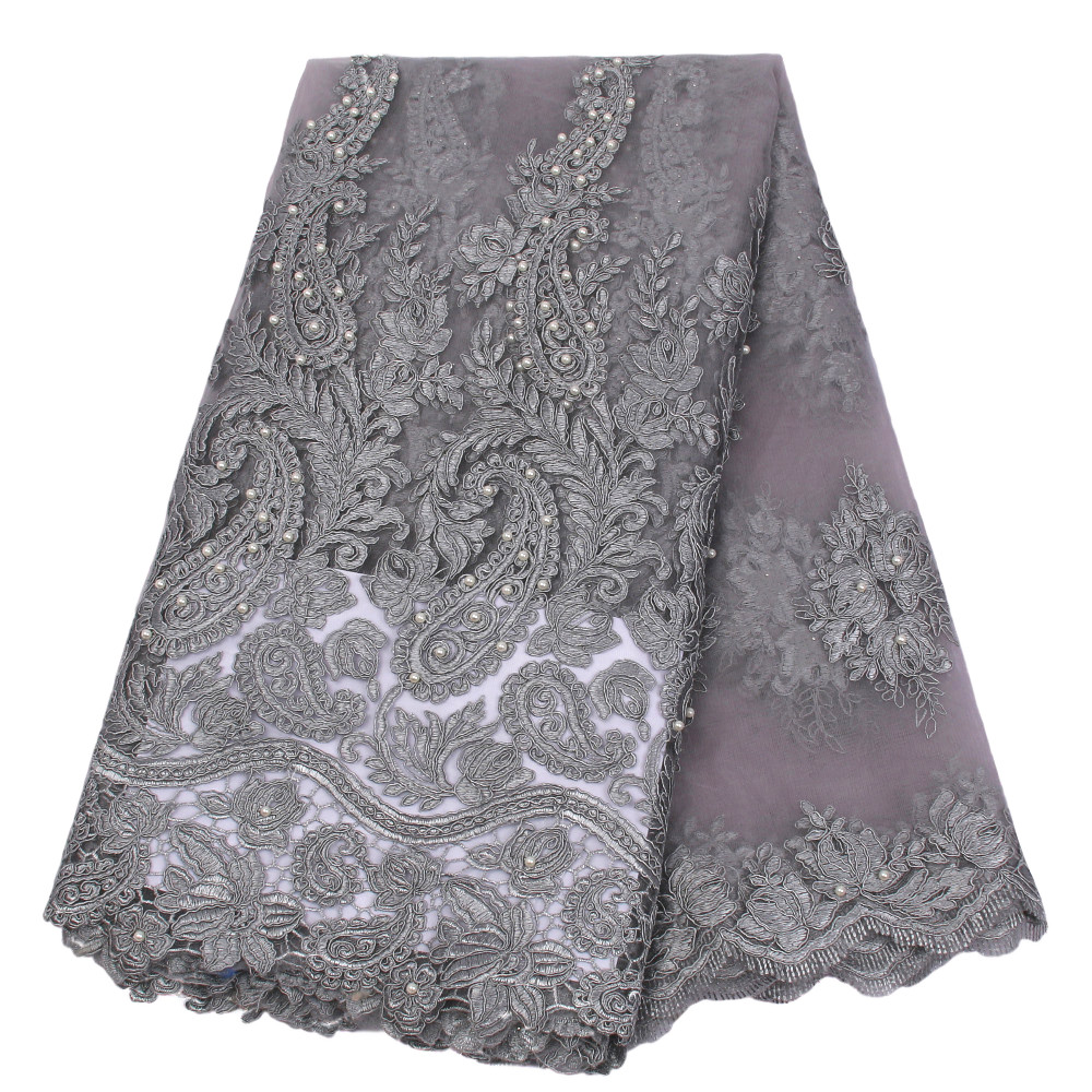 Grey African Lace Fabric 2018 High Quality Nigerian Lace Fabrics For Wedding 2017 Beaded French Tulle