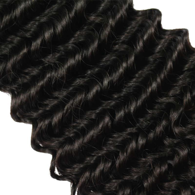 Pelo virginal brasileño pelo profundo de la armadura del cabello humano 3 piezas Bundles con cierre de encaje 4x4 de la trama del cabello humano sin procesar berrys de moda