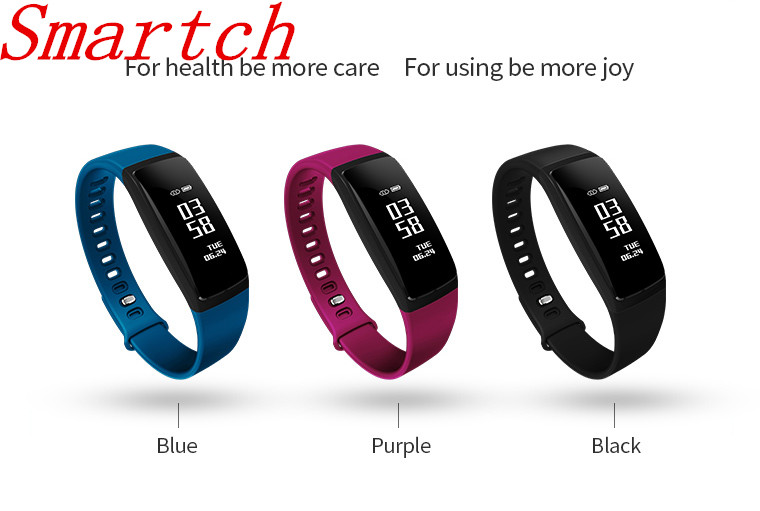 Smartch V07 Smart Bracelet Blood Pressure Fitness Pulsometro Activity Tracker Watches Smartband Heart Rate Monitor USB