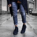 Yeezys хип-хоп одежда мужская мода 29-36 тощий синий/черный мужские проблемные ripped rockstar денима синий черные джинсы мужчины